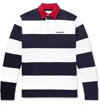 Noon Goons Fielders Twill Trimmed Striped Fleece Back Cotton Jersey Rugby Shirt Navy