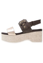 Jeannot Platform Sandals Platino Ebano Gold
