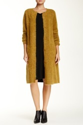Eileen Fisher Wool Mohair Blend Long Round Neck Sweater Coat Yellow