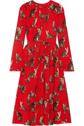Dolce And Gabbana Printed Silk Crepe De Chine Dress Red