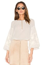 Maison Scotch Embroidered Tunic Top White
