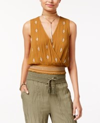 American Rag Juniors' Embroidered Surplice Tank Top Only At Macy's Mustard