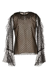 Monique Lhuillier Long Sleeve Point D'esprit Blouse Black