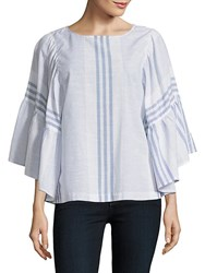 Beach Lunch Lounge Striped Wide Sleeve Blouse White Blue