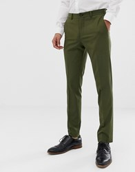Jack And Jones Premium Stretch Slim Suit Trousers In Khaki Forest Night Green