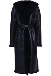 Zimmermann Woman Belted Reversible Leather And Shearling Hooded Coat Midnight Blue