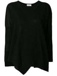 Zanone Pointy Knitted Blouse Black