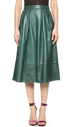 Tibi Leather Full Skirt Emerald