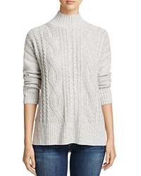 Sanctuary Mock Neck Cable Knit Sweater Marled Sterling White