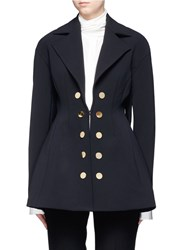 Ellery 'Marilyn' Double Breasted Flared Twill Coat Black