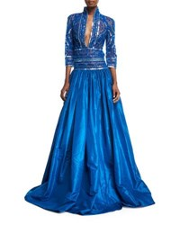 Naeem Khan Stand Collar Plunging Beaded Bodice Ball Gown Blue