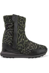Y 3 Adidas Originals Rhita Leather Trimmed Printed Quilted Shell Boots Army Green