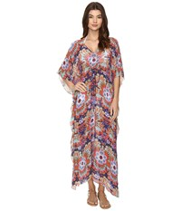 Nicole Miller La Plage By Ocean Foliage Long Caftan Multi Women's Clothing