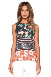 Clover Canyon Floral Sunrise Tank Top Black