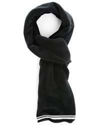 Our Legacy White Ribbed Black Fleece Scarf