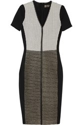 Reed Krakoff Paneled Leather Mesh Amd Stretch Satin Dress