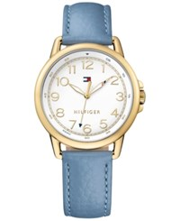 Tommy Hilfiger Women's Casual Sport Light Blue Leather Strap Watch 36Mm 1781653