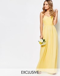 Tfnc Wedding Bandeau Chiffon Maxi Dress Pastel Lemon Yellow