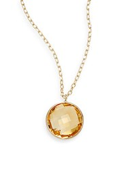 Saks Fifth Avenue Lollipop Citrine And 14K Yellow Gold Bezel Pendant Necklace Gold Yellow