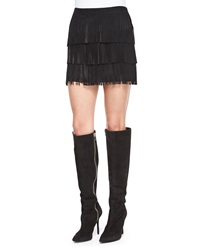 Alice Olivia Lavana Tiered Fringe Suede Skirt Black
