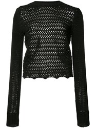 3.1 Phillip Lim Long Sleeve Crochet Top Black