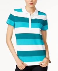 Tommy Hilfiger Striped Polo Shirt Only At Macy's Everglade
