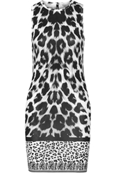 Versus Leopard Print Stretch Cotton Dress White