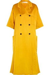 Victoria Beckham Double Breasted Pleated Silk Blend Satin Coat Marigold