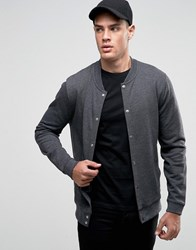 Asos Jersey Bomber Jacket With Snaps In Charcoal Gray