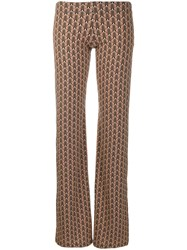 Fisico Geometric Print Trousers Neutrals