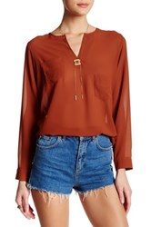 Angie Chiffon Split Neck Blouse Red