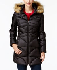 Jones New York Faux Fur Trim Quilted Down Puffer Coat Black Matte