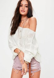 Missguided Cream Off Shoulder Cable Knitted Jumper White