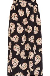 Mother Of Pearl Romily Floral Print Silk Satin Midi Skirt