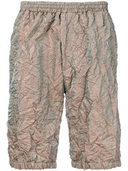 Paura Metallic Crinkle Effect Shorts Nude And Neutrals