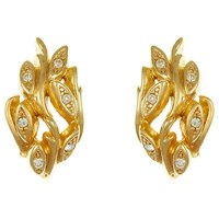 Eclectica Vintage 1970S Christian Dior Gold Plated Swarovski Crystal Leaf Clip On Earrings Gold