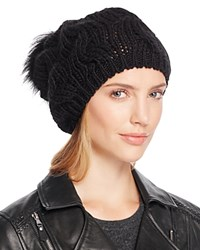 Echo Beanie With Asiatic Raccoon Fur Pom Pom 100 Bloomingdale's Exclusive Black
