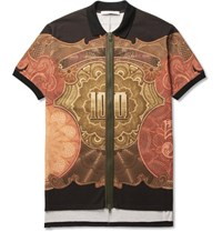 Givenchy Columbian Fit Printed Cotton Pique Zip Up Polo Shirt Black