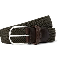 Andersons 3.5Cm Dark Green Leather Trimmed Woven Elasticated Belt