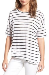 Cupcakes And Cashmere Women's Liberty Stripe Linen Tee White