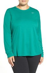 Nike Plus Size Women's 'Miler' Dri Fit Long Sleeve Top Teal Charge Silver