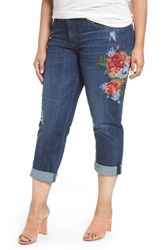 Kut From The Kloth Plus Size Women's Catherine Embroidered Boyfriend Jeans Premier Dark Stone Base Wash