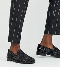 House Of Hounds Wide Fit Mercury Brocade Loafers In Black