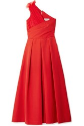 Preen By Thornton Bregazzi One Shoulder Tulle Trimmed Stretch Cady Midi Dress Red
