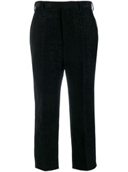 Rick Owens Pintuck Cropped Trousers Black