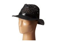 Steve Madden Loose Weave Panama Hat Black Traditional Hats