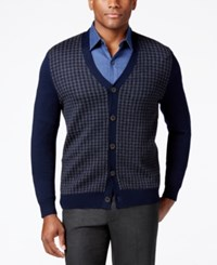 Club Room Men's Italian Yarn Houndstooth Cardigan Classic Fit Navy Blue
