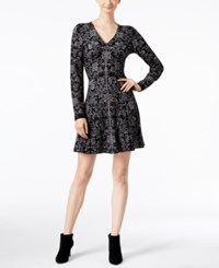 Inc International Concepts Intarsia Fit And Flare Sweater Dress Only At Macy's Deep Black