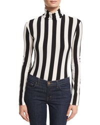 Nina Ricci Striped Turtleneck Bodysuit Black White White Black