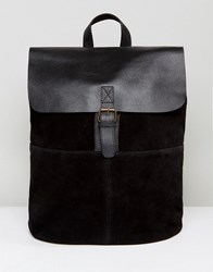 Asos Backpack In Leather And Suede Mix In Black